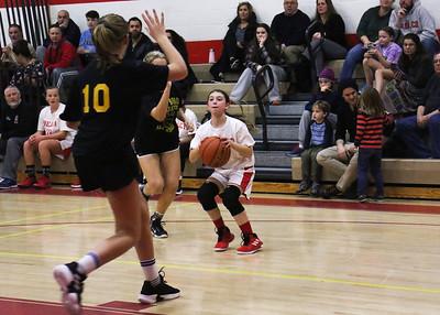 no.1, Gina Umek and no.10, Molly MacGlashan Point Pleasant Beach v/s Point Pleasant Boro rec basketball game in Point Pleasant Beach, NJ on 2/27/19. [DANIELLA HEMINGHAUS | THE OCEAN STAR]