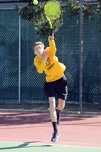 Tom Nemeth, Point Pleasant Boro High School Varsity Tennis Team serving to a Brick Memorial High School opponent on 04/04/2019. (STEVE WEXLER/THE OCEAN STAR