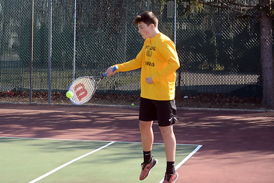 Tucker Tremblay, Point Pleasant Boro High School Boy's Tennis player returns a Brick memorial player's serve in their game played on 04/04/2019. (STEEV WEXLER/THE OCEAN STAR)