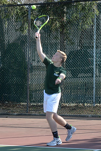 Jimmy Hoffman of the Brick Memorial High School Boy's Varsity Tennis Team serves the ball to a waiting Point Pleasant Boro High School player in their match, played on 04/04/2019. (STEVE WEXLER/THE OCEAN STAR).