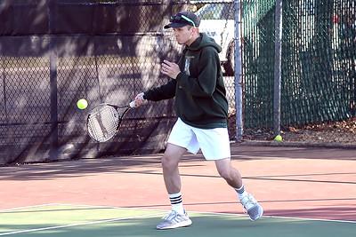 Brick Memorial High School Boy's Varsity Tennis player, Dylan Torres returns a Point Pleasant Boro High School player's serve, in their match played on 04/04/2019. (STEVE WEXLER/THE OCEAN STAR).