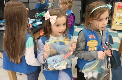 "Amelia Sibole and Breelyn Mattia The Daisey Scouts making ""Blessing Bags"" at Nellie Bennett Elelmentary in Point Pleasant Boro, NJ on 4/4/19. [DANIELLA HEMINGHAUS | THE OCEAN STAR]"