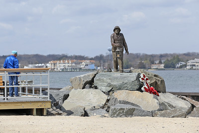A cross has been placed at the Fisherman's Memorial at Loughran Point in honor of Capt. Clint Dunham, a longtime resident of Pt. Beach and sea captain, who died last week at the age of 96.  (MARK R, SULLIVAN/THE OCEAN STAR)