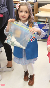 """Amelia Sibole The Daisey Scouts making """"Blessing Bags"""" at Nellie Bennett Elelmentary in Point Pleasant Boro, NJ on 4/4/19. [DANIELLA HEMINGHAUS 