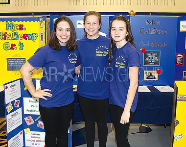 Bay Head Elementary School Open House 04/01/2017 from L to R: Amanda Lewis age 13 from Brick, Jane MacPherson age 13 from Bay Head, Claire Kenny age 14 from Brick