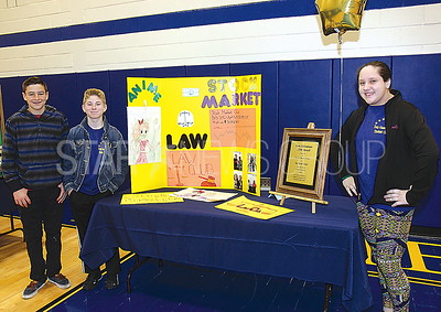 Bay Head Elementary School Open House 04/01/2017 from L to R: Connor Feehan age 13 from Bay Head, Seamus Dolan age 13 from Brick, Emily Jones age 13 from Point Beach, Members of the BH ES Law Club