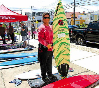 Bay Head old school board swap 04/23/2017: Mark Colino from Seaside Park Selling some of his surf boards