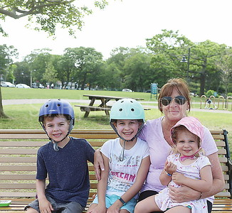 Boro Riverfront Park: pt pleasant residents Greyson Russoman 7. Malia Russoman  9 and Lila Russoman 2 spent time with their friend and babysitter Carolyn Barr of Lavallette
