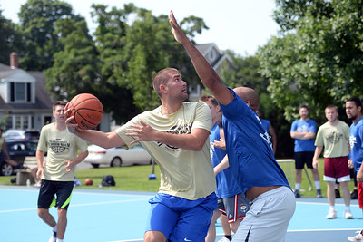 Lior Levy of Beach Hoops goes up for a shot against the Lynx Waste team at Summer Slam League action at Indian Hill Park, in Manasquan, NJ on 06/29/2019. (STEVE WEXLER/THE COAST STAR).