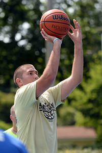 Lior Levy of the Beach Hoops Team takes a shot at Indian Hill Park at Summer Slam League, in Manasquan, NJ on 06/29/2019. (STEVE WEXLER/THE COAST STAR).