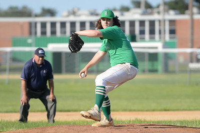 Brick American Legion Baseball League starting pitcher Kyle Chirichello hurling in a pitch to a waiting Pinelands American league batter in Brick, NJ on 06/27/2019. (STEVE WEXLER/THE OCEAN STAR).