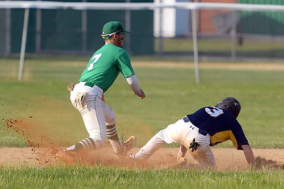 #7, Don Scheri of the Brick American Legion Baseball Team forces a Pinelands runner at second base, in their game played in Brick, NJ on 06/27/2019. (STEVE WEXLER/THE OCEAN STAR).