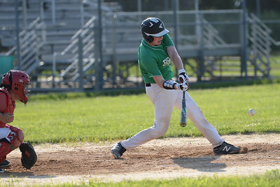 Robbie Blair of the Brick American Legion Baseball team connects on a Pinelands pitch, in Brick, NJ on 06/27/2019. (STEVE WEXLER/THE OCEAN STAR).