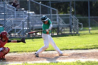 #9, Matt Kunzman of the Brick American Legion Baseball Team strikes at a Pineland's pitch, in their game played in Brick, NJ on 06/27/2019. (STEVE WEXLER/THE OCEAN STAR).