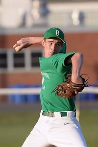 #19, Relief pitcher Matt Kunzman of the Brick American Legion Baseball Team vs Pinelands, in Brick, NJ on 06/27/2019. (STEVE WEXLER/THEOCEAN STAR).