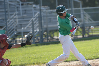 #18, Nick Guiro, of the Brick American Legion Baseball Team strikes at Pinelands pitch in their game played in Brick, NJ on 06/27/2019. (STEVE WEXLER/THE OCEAN STAR).