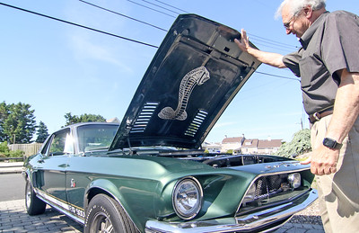 """Frank """"Buzz"""" Adubato and his 1968 Ford Mustang Shelby Green Hornet tribute in Mantoloking, NJ on 6/27/19. [DANIELLA HEMINGHAUS 