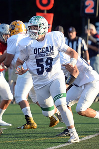 Offensive Lineman #59, Zach Piscope of Brick High School, blocking for a running back on the Ocean County All-Shore Team at the 2019 Gridiron Classic played at Long Branch High School on 07/12/2019. (STEVE WEXLER/THE OCEAN STAR).