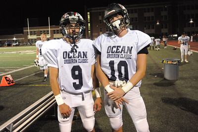 Point Pleasant Boro Football Team players, Boobby Cooper and Kyle Komanitsky seen at the conclusaion of the 2019 All-Shore Gridiron Classic, played in Long Branch, NJ. (STEVE WEXLER/THE OCEAN STAR).