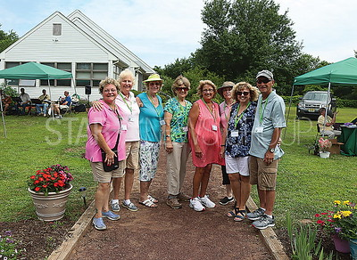 Brick garden tour// garden club members/ organizers. Connie Ossichak. Peggy Voss. Nancy Genalo. Lois Neigel. Pres Linda Rieche. Carol Kilgannon and Mary and Daniel LaPolla