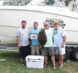 Point Pleasant Beach Elks Fishing Tournament from L to R: Tied 1st place winners Shawn Marques, Ed Willard, Ron Knowlmayer, Tournament Coordinator John Veprek