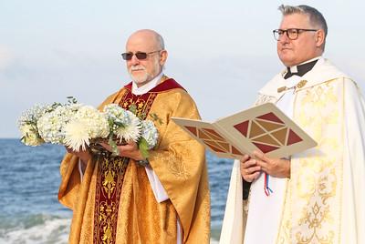 Father Joe Hlubk and Pastor Rev. Fthr. Douglas Freer [right] The Blessing of the Sea in Lavallette, NJ on 8/15/19. [DANIELLA HEMINGHAUS]