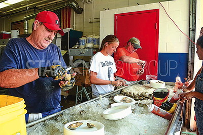l-r: ken gifinger, sandy applegate, and scooter applegate shucking clams for people.
