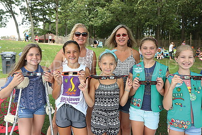 BRICK GirlScout eclipse viewing // BRICK RESIDENTS  L to R: BACK Penny Chandler and Judy Toscano FRONt: Ashley Chandler 12. Grace Toscano 11. Cindy Chandler 9. Kylie Hala 10 and Caitlyn Chandler 10