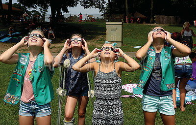 BRICK GirlScout eclipse viewing // BRICK RESIDENTS  L to R: Caitlyn Chandler 10, Ashley Chandler 12, Cindy Chandler 9. and Kylie Hala 10