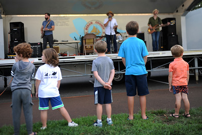 Local kids listening to the Heavy Soul Blues Band at the Centennial Kickoff Celebration in Point Pleasant Boro, NJ on 08/23/2019. (STEVE WEXLER/THE OCEAN STAR).