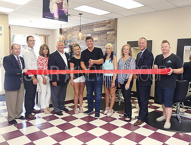 BCH Ribbon Cuttings//Take Home Salon:  L to R Tony Novo. John Bezerra, Carol Vaccaro, Mayor Reid, Vanessa DeJesus owner Norm Hoffner. Lisa Brooks. Dr. Sue Nemiroff, Tom Vogel and James Ward