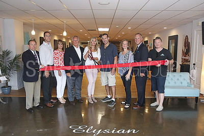 BCH Ribbon Cuttings//Elysian Salon: L to R Tony Novo. John Bezerra, Carol Vaccaro, Mayor Reid, Owner Jessica Corino and husband Bryan. Dr. Sue Nemiroff, Tom Vogel and James Ward