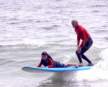 Lavallette Waves of Impact: Vincent Ristaino age 8 og union beach with Pro Surfer Sam Hammer of Lavallette