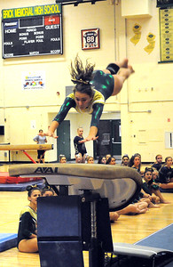 GIANNA FURTH OF THE BRICK MEMORIAL HIGH SCHOOL VARSITY GYMNASTICS TEAM  DOES HER VAUKT EXERCIZE DURING THE MEET AGAINST TOMS RIVER NORTH HIGH SCHOOL AT WALL HIGH SCHOOL GYM IN WALL, NEW JERSEY ON 09/20/2018. (STEVE WEXLER/THE OCEAN STAR).