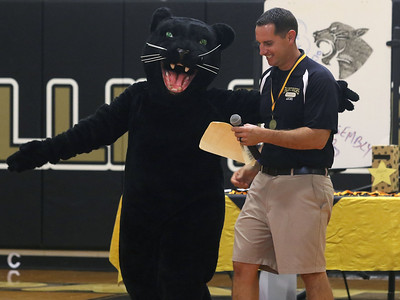"Coach Akins with the Boro Panther. Nellie Bennett Elementary School's ""Star Student Pep-Rally in Point Pleasant Boro, NJ on 9/21/18. [DANIELLA HEMINGHAUS 