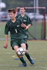 Zack Meyer from Brick bring the ball up field as Brick High School hosted Toms River East High School in a boys varsity soccer game held at the Drum Point Road Sports Complex in Brick Township on Tuesday September 11, 2018. (MARK R. SULLIVAN /THE OCEAN STAR)