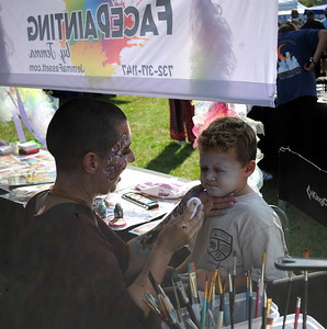 SPIRO BARDIS AGE 5 OF POINT PLEASANT BORO, NEW JERSEY GETS HIS FACE PAINTED BY JEMMA FASSETT AT ROCK FOR AWARENESS HELD AT COMMUNITY PARK IN POINT PLEASANT BORO, NEW JERSEY ON 09/29/2018. (STEVE WEXLER/THE OCEAN STAR).
