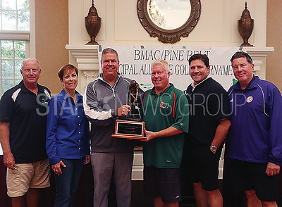 BRCK BMAC golf outing// winning team with Mayor and council// L to R: councilman Paul Mummolo, councilwoman Andrea Zapcic, Andrew Zapcic, Mayor Ducey, George Barnett and T.J. Coan