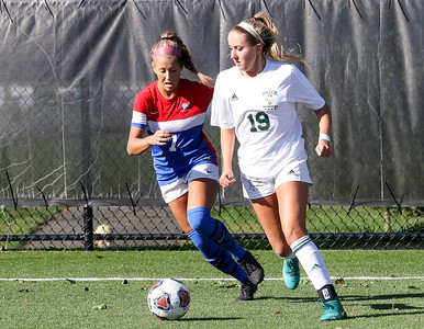 no.7, Remi Reinhardt and no,19, Angel Hernandez Brick Memorial High School girls soccer v/s Wall High School in Wall,NJ on 10/12/18. [DANIELLA HEMINGHAUS | STAR NEWS GROUP]