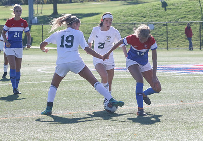no.19, Angel Hernandez and no.21, Alexis Serpico fighting no.14 Grace Gisoldi for the ball. Brick Memorial High School girls soccer v/s Wall High School in Wall,NJ on 10/12/18. [DANIELLA HEMINGHAUS | STAR NEWS GROUP]