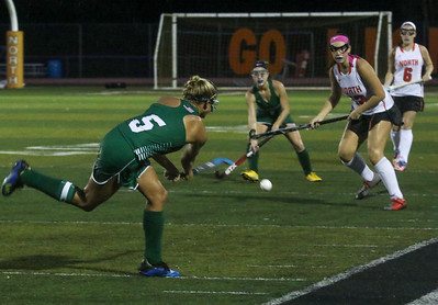 no.5, Lily Sherry passing the ball. Brick Township field hockey v/s Middletown North in Middletown, NJ on 10/11/18. [DANIELLA HEMINGHAUS | THE OCEAN STAR]