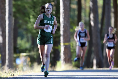 Anna Bergen from Brick High School runs during the 2018  Ocean County XC Championships were held at Ocean County Park in Lakewood on Thursday October 18, 2018. (MARK R. SULLIVAN/THE OCEAN STAR)