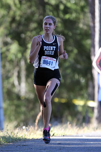 Sarah Kimak from Point Pleasant Borough High School runs during the 2018  Ocean County XC Championships were held at Ocean County Park in Lakewood on Thursday October 18, 2018. (MARK R. SULLIVAN/THE OCEAN STAR)