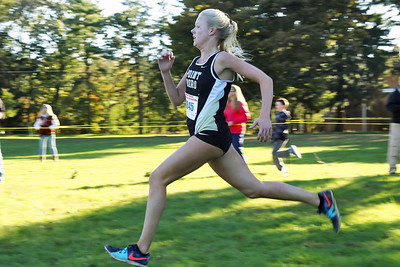 Kiera Munyan from Point Pleasant Borough runs during the 2018  Ocean County XC Championships were held at Ocean County Park in Lakewood on Thursday October 18, 2018. (MARK R. SULLIVAN/THE OCEAN STAR)