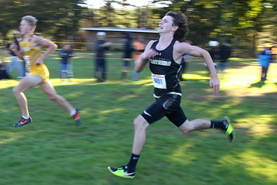 Daniel Brouder from Point Pleasant Borough High School heads to the finish line during the 2018  Ocean County XC Championships were held at Ocean County Park in Lakewood on Thursday October 18, 2018. (MARK R. SULLIVAN/THE OCEAN STAR)