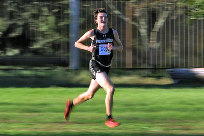 Devin Hart from Point Pleasant Borough High School out paces the competition during the 2018  Ocean County XC Championships were held at Ocean County Park in Lakewood on Thursday October 18, 2018. (MARK R. SULLIVAN/THE OCEAN STAR)