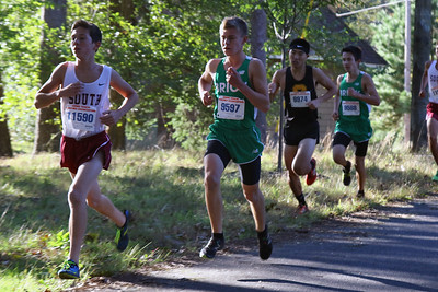 Zachary Seemar (center) from Brick High School keeps pace during the 2018  Ocean County XC Championships were held at Ocean County Park in Lakewood on Thursday October 18, 2018. (MARK R. SULLIVAN/THE OCEAN STAR)