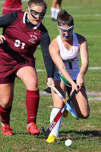 Lexie Laurino (right) from Brick battles with a South Toms River defender asBrick Township High School hosted Toms River South High School in a girls varsity field hockey game at Brick on Tuesday October 25, 2018. (MARK R. SULLIVAN/THE OCEAN STAR)