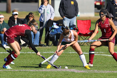 Lexie Laurino (center) from Brick battles with a couple of South Toms River defenders as Brick Township High School hosted Toms River South High School in a girls varsity field hockey game at Brick on Tuesday October 25, 2018. (MARK R. SULLIVAN/THE OCEAN STAR)