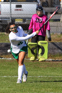 Viv Alfanso hits the ball up field as Brick Township High School hosted Toms River South High School in a girls varsity field hockey game at Brick on Tuesday October 25, 2018. (MARK R. SULLIVAN/THE OCEAN STAR)